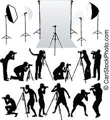 fonctionnement, photo, vectors, -, accessoires, équipement, studio