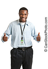 fonctionnement, porter, employé, sourire, écusson, heureux