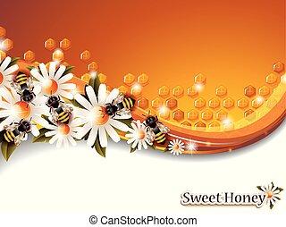 fonctionnement, printemps, résumé, miel, abeilles, fond, fleurs