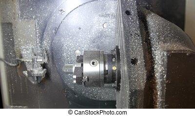 fonctionnement, processus, -, industrie, métal, machine, forage, robotique, fabrication