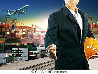 fonctionnement, professionnel, homme, importation, logistique, fret, exportation, industrie