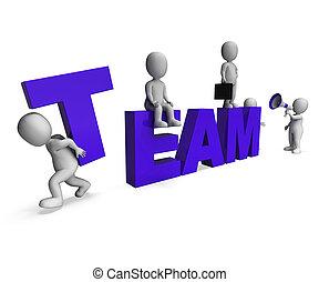 fonctionnement, projection, ensemble, synergie, caractères, équipe, 3d