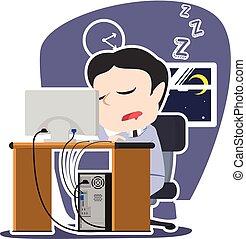 fonctionnement, quoique, endormi, asiatique, automne, homme affaires
