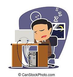 fonctionnement, quoique, indien, endormi, automne, homme affaires