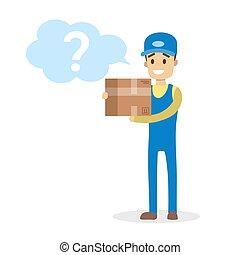 fonctionnement, service, livraison packet courrier, tenue