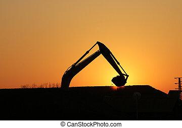 fonctionnement, site construction, excavateur, silhouette