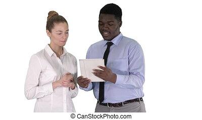 fonctionnement, tablette, gens, affaires modernes, arrière-plan., blanc