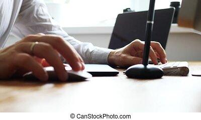 fonctionnement, tablette, utilisation, graphiques, créatif, concepteur, table, quoique