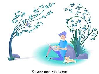 fonctionnement, utilisation, homme, mensonge, chat, garden., ordinateur portable