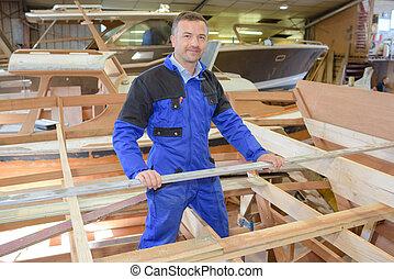 fonctionnement, yard, charpentier, bateau