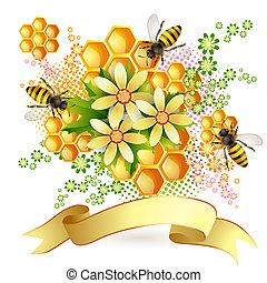 fond, à, abeilles