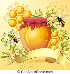 fond, à, abeilles, et, fiole miel