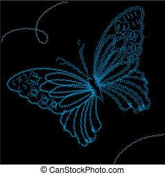 fond, à, bleu, papillon