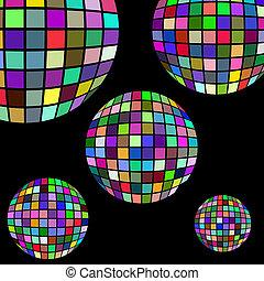 fond, à, boules disco