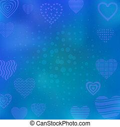fond, à, cœurs, bleu