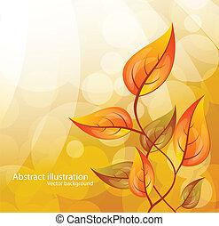 fond, à, feuilles