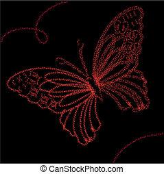 fond, à, rouges, papillon, vecteur, illustration