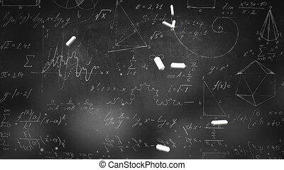 fond, école, closeup, éléments, formule mathématique, tableau noir