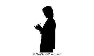 fond, écriture, femme, blanc, isolé, silhouette, vidéo