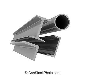 fond, -, élevé, aluminium, profils, technologie