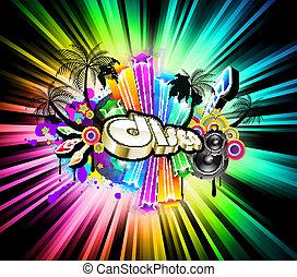 fond, élevé, musique, disco, technologie