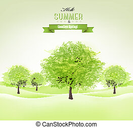 fond, été, vector., vert, arbres.