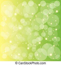 fond, étincelant, vert, jaune, étoiles, bulles