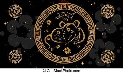 fond, événement, magique, 4k, lunaire, printemps, chinois, sakura, noir, rendre, fireworks., simbol, animation., seamless, vidéo, toile de fond, rat, vacances, nouvel an, 3d, nuit, boucle, année, scintillement, festival
