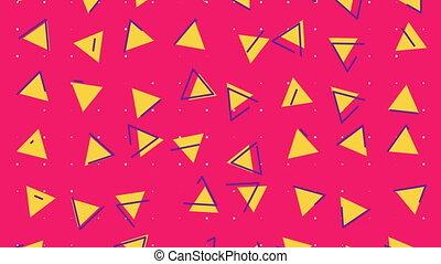 fond, 80s, animation, triangle, résumé