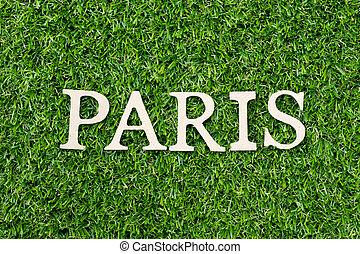 fond, alphabet, herbe, lettre, paris, vert, bois mot