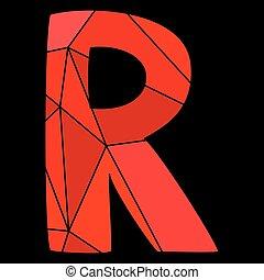 fond, alphabet, isolé, vecteur, noir, lettre, r, rouges