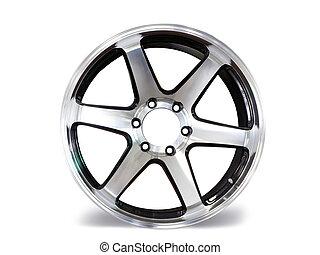 fond, aluminium, voiture, permettre, roues, blanc