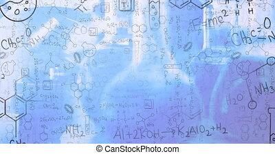 fond, animation, bleu, contre, équations, structures, flotter, numérique, chimique