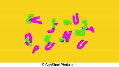 fond, animation, changer, contre, nombres, alphabets, flotter, numérique, jaune