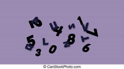 fond, animation, changer, contre, pourpre, nombres, alphabets, flotter, numérique