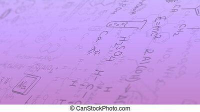 fond, animation, formule, contre, pourpre, structures, flotter, numérique, chimique