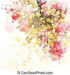 fond, aquarelle, floral