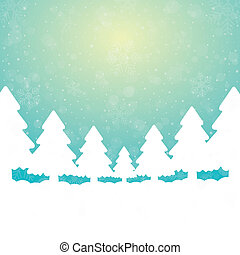 fond, arbre, neige vert, étoiles, blanc