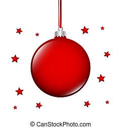 fond, arbre, noël, étoiles, blanc, babiole, rouges