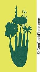 fond, arbres, doigts, jaune