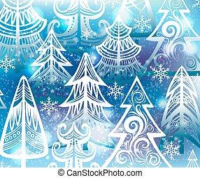 fond, arbres hiver