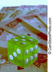 fond, argent, concept, dés, business