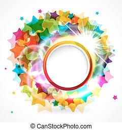 fond, arrondi, frame., coloré, étoile