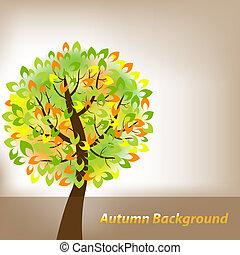 fond, automne, arbre