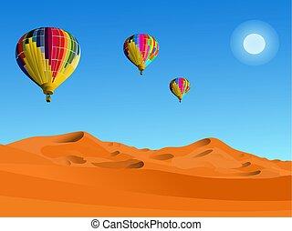fond, ballons, bleu, désert, flotter, coloré, au-dessus, ciel
