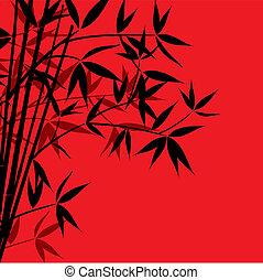 fond, bambou, vecteur