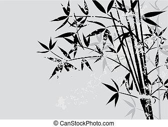 fond, bambou, vecteur, grunge