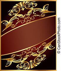 fond, bande, gold(en), brun, ornement