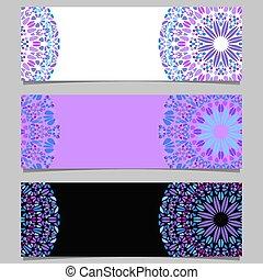 fond, bannière, horizontal, mandala, ensemble, coloré, floral