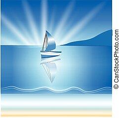 fond, bateau, vagues